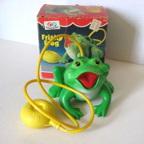 Vintage Toy Fisher Price Frisky Frog. Makes Croaking Sound & Hops ~ 70s