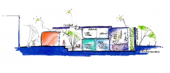University of Arizona Poetry Center schematic section, by  Line and Space