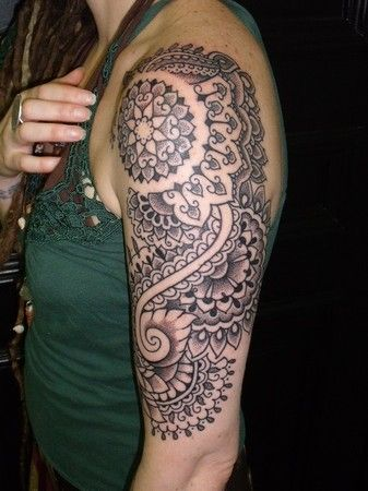 Henna half-sleeve tattoo