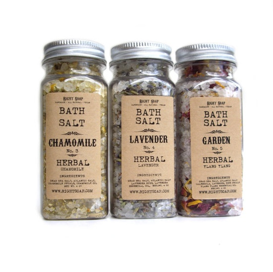 Bath salt  HERBAL set  8oz jars by RightSoap on Etsy, $32.00