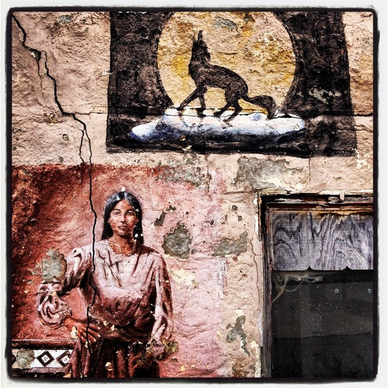 Coyote Indian Native American Woman Mural Fresco Painting Sweetwater Texas West, photo by David Kozlowski