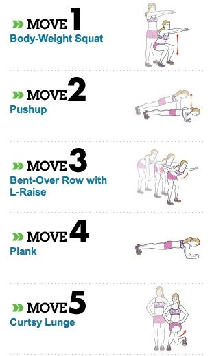 Fastest way to lose 20 pounds, according to Women's Health... Do workout 2-3 times a week, doing 2 sets of each exercise with 12-15 reps per set (Note: 30 sec. plank) Really worth checking this out, explains every exercise well!