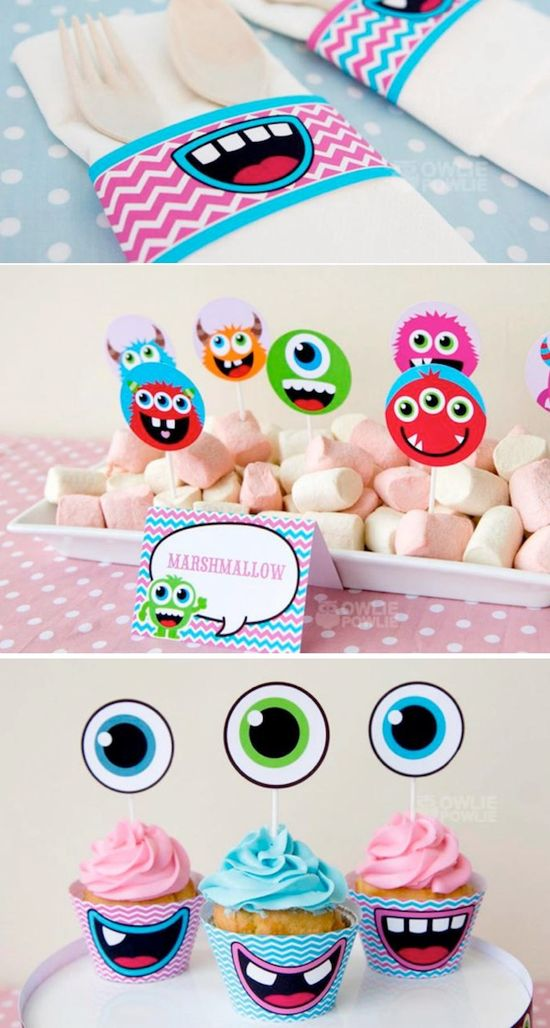 Girly Monster Themed Baby Shower FULL of adorable ideas! Via Kara's Party IDeas