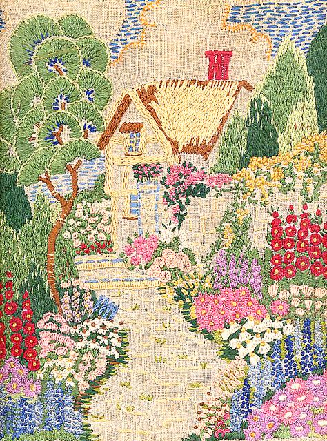 Cottage and garden vintage embroidery