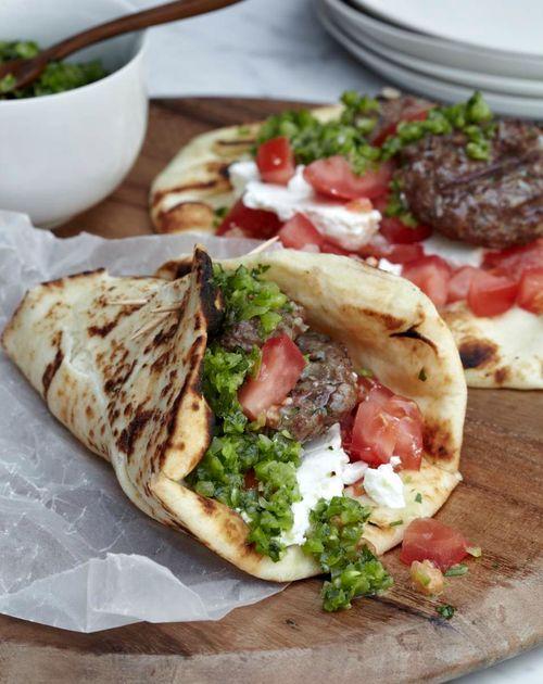 Lamb Burgers with Green Harissa // More Grilled Lamb Recipes: fandw.me/Nrw #foodandwine
