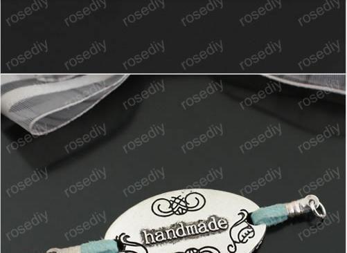 Flower Charms – *32mm silver Oval Charm Handmade Charm 20X 10160* – a unique product by PleasantWarrior on DaWanda