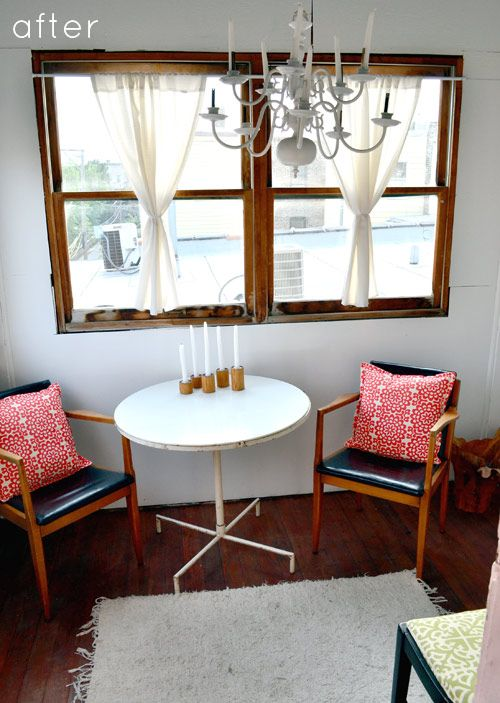 designsponge.com before and after: small porch...great floors, lamp, and pillows.
