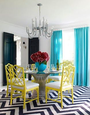 Jonathan Adler. The curtains and chairs are beautiful! I'm really starting to love black and white floors/ rugs. Very cute. Especially in a dramatic zig zag pattern like this.