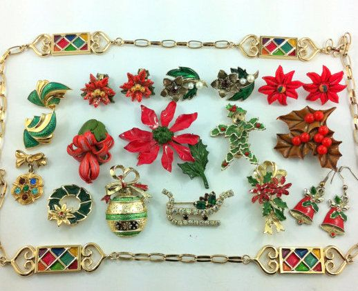 Vintage Holiday Jewelry Lot Earrings Brooches by TheOldJunkTrunk, $20.00