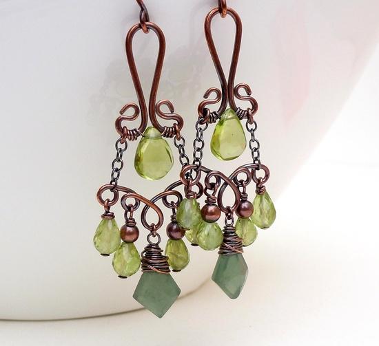 Copper dangle earrings Peridot earrings Copper earrings Peridot and Green garnet earrings.
