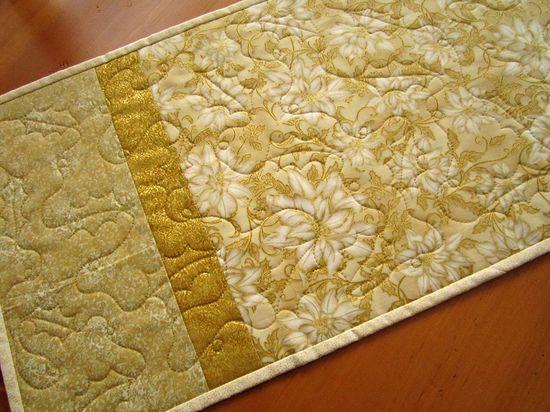 Handmade Quilted Table Runner Golden Christmas $46.00 thecraftstar