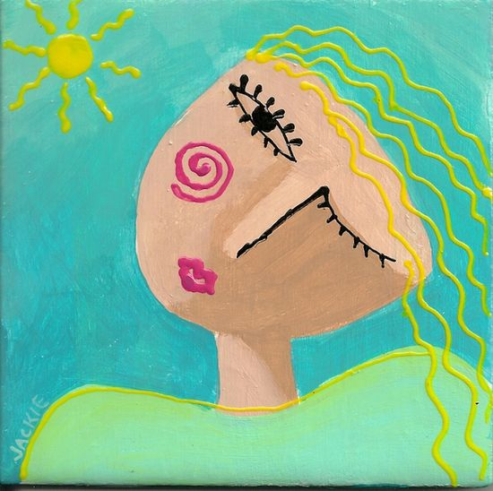 Hand Painted Art Tile Abstract Portrait