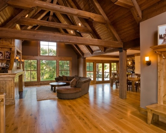 Stained Maple wood floors in this great open room concept #Hardwood