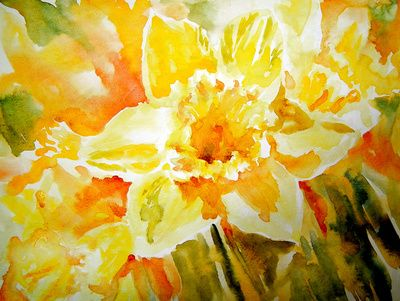 Mellow Yellow - daffodil narcissus watercolor floral painting Art Print by Ruth S. Harris