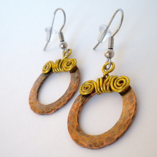unique copper jewelry / Copper and Brass Earrings