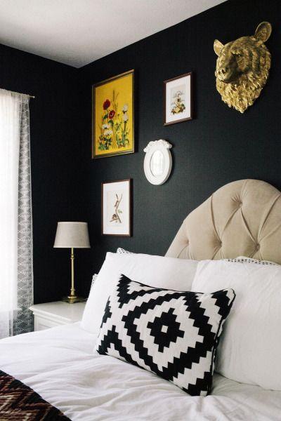 Amazing black walls in a bedroom