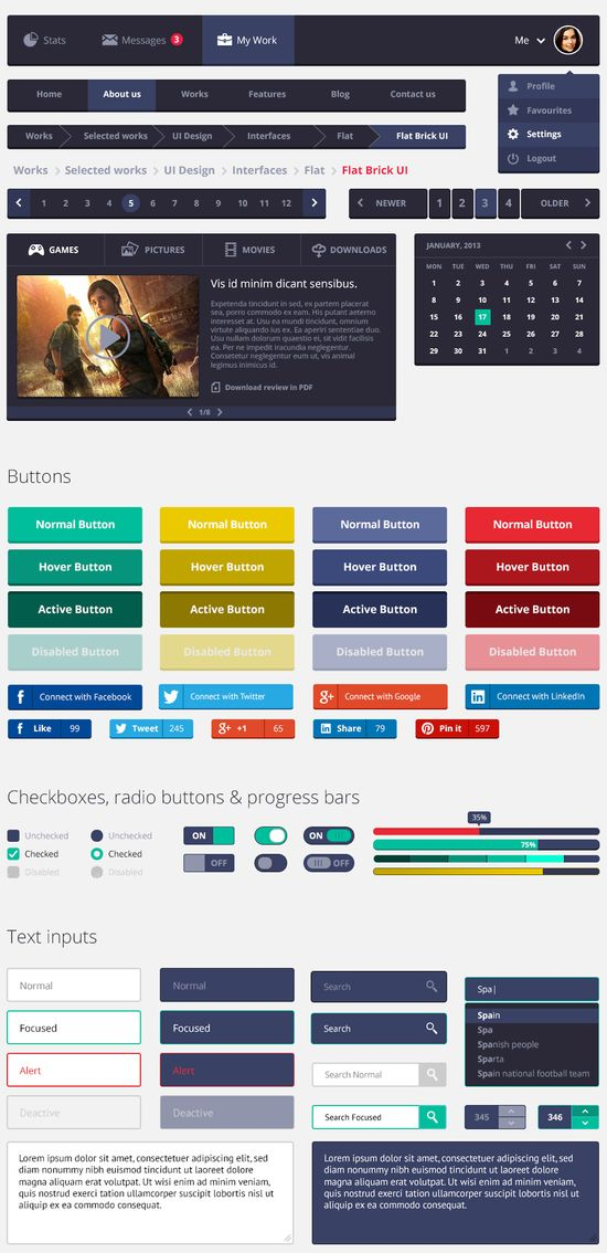 Free Flat Rounded Square UI Kit - #free #freebie #ui #interface #userinterface #design #creative #inspiration #flatdesign #webdesign