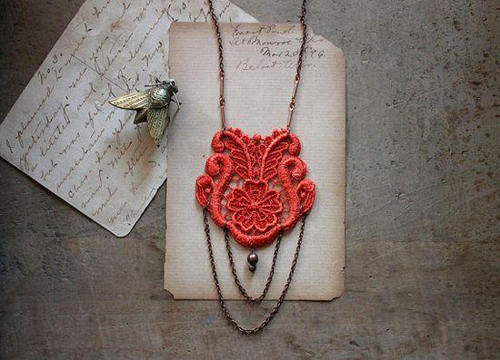 lace necklace - LAUREN- tangerine- long necklace - via Etsy