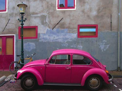 awesome pink VW bug