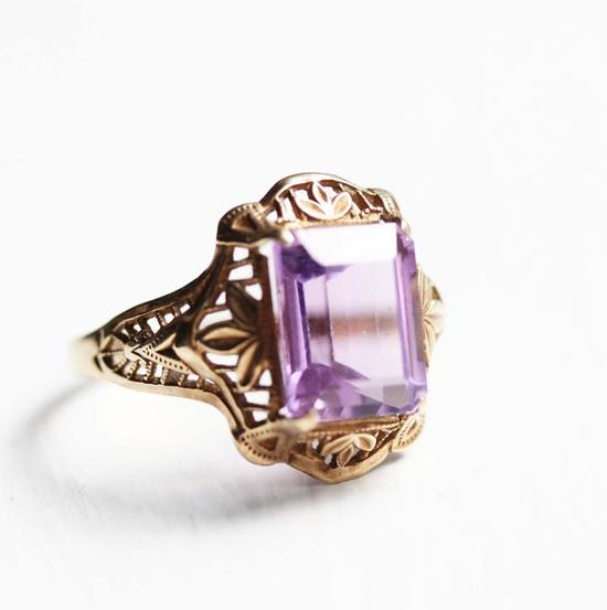amethyst filigree ring / diamentdesigns on etsy