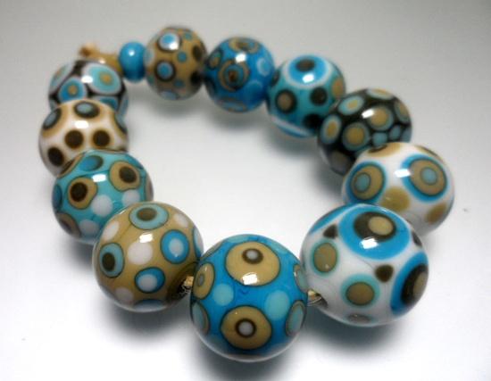 Lampwork.Glass bead handmade.Turquoise,beige,white,blue.Sold Example. Pre-order similar.. $35.00, via Etsy.