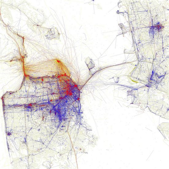 Local vs. Tourist Photography in San Francisco: Purple represents photos by locals, red by tourists, yellow unknown (by either) - Eric Fischer