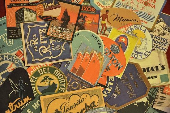 vintage travel stickers