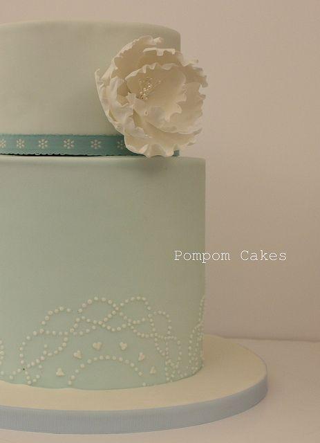 Double height peony wedding cake