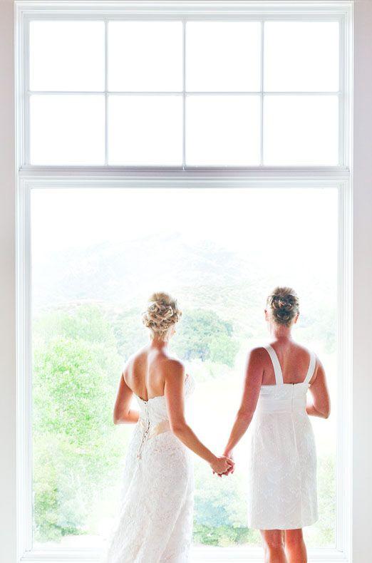 Same sex wedding plus love the dresses!