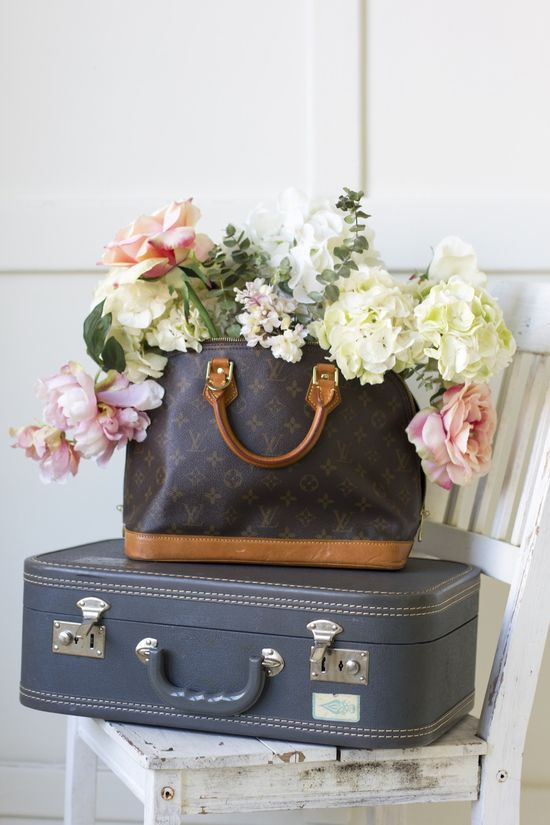 vintage purse flower arrangement /  louis vuitton