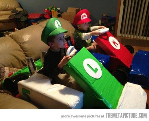 Parenting Win: The best way to play Mario Kart Win. I will do stuff like this for my kids!