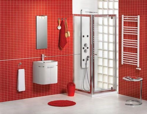 Superb bathroom interior design ideas--Love the way the red tiles are reflected in the shower #bathroom design ideas #modern bathroom design #bathroom designs #bathroom interior #bathroom decorating before and after