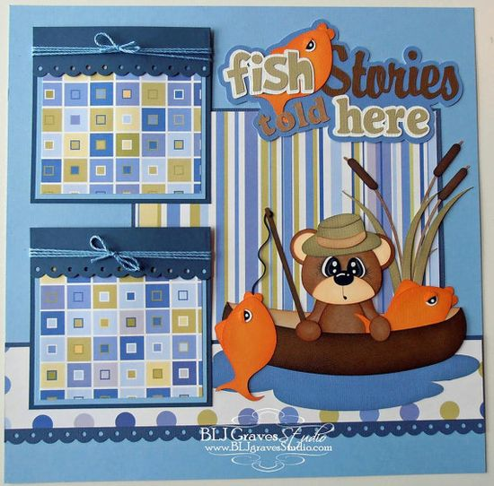 Premade Scrapbook Page Layout Paper Piecing 12x12 Boy Girl Fish Summer Handmade Elite4U