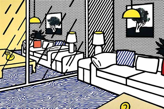 Roy Lichtenstein, Blue Floor Interior. via