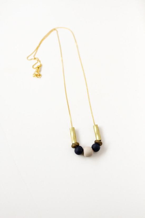 limited edition mixed bead necklace in midnight blue & gold, by AMM Jewelry