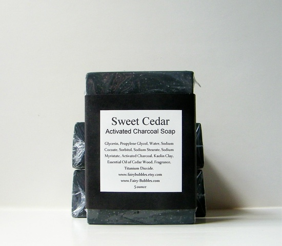 Natural activated charcoal soap.
