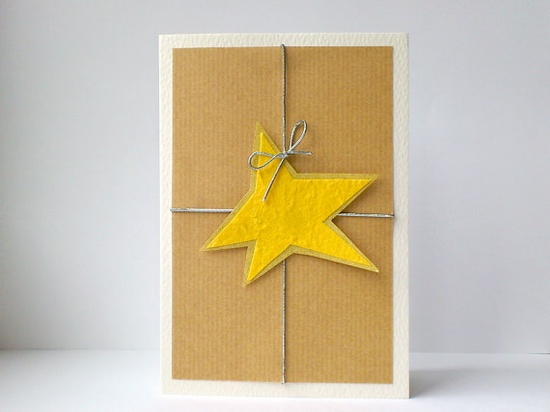 Rustic Christmas cards with gold star, via Etsy.