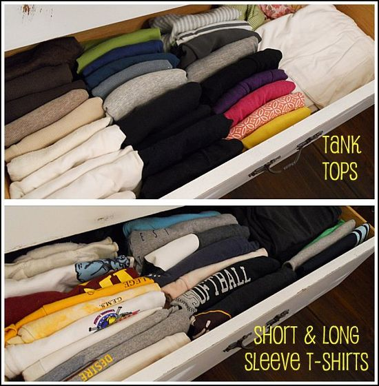 Organize shirts in vertical rows instead of on top of one another.  This blog has tons of great ideas on how to organize closets and drawers.