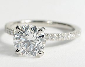 Petite Pavé Diamond Engagement Ring in Platinum #BlueNile