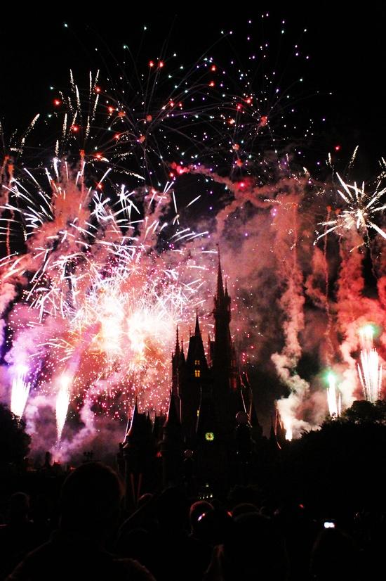 Breathtaking fireworks at Cinderella's Castle at Walt Disney World Florida