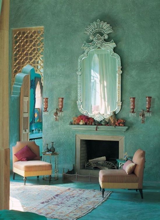 Turquoise walls.