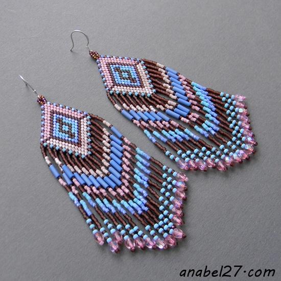 Beaded earrings - beadwork, seed bead jewelry