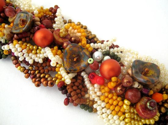 Beaded jewelry, beaded cuff bracelet, beadwork, freeform bracelet, seed bead bracelet, rustic, autumn, fall by ibics