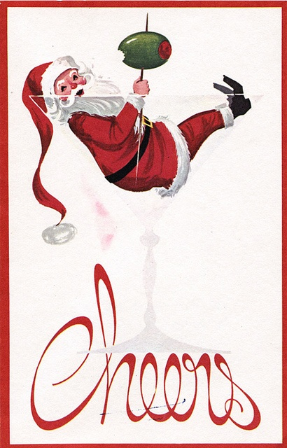 Vintage Christmas card ~ Santa in a martini glass  #retroChristmas