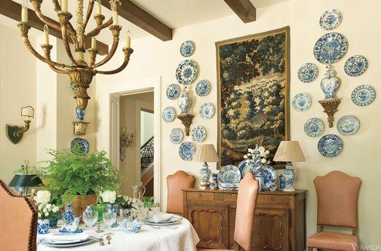 Blue and White porcelain in VERANDA. Interior Design by Peggy Stone.