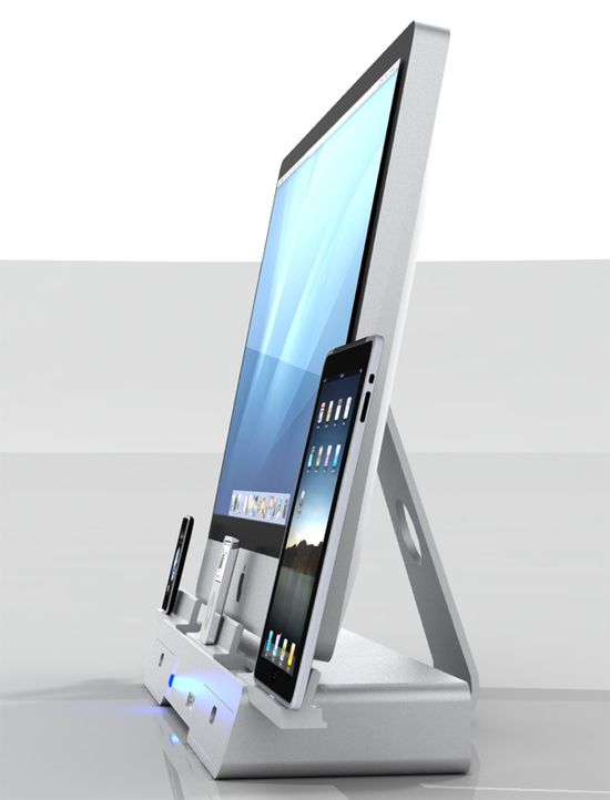Wow. I can only wish.  The Docking and Storage Base for iMac, iPod, iPhone & iPad by Yaser Alhamyari » Yanko Design Hey Val, this may be what you are looking for