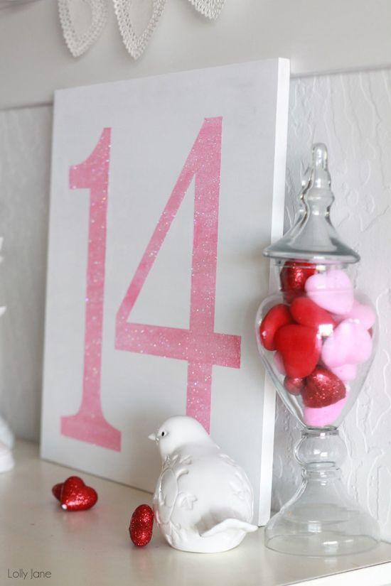 easy Valentines day glitter sign #valentines day #DIY