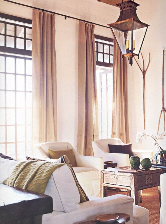 Love the curtains and rod and light