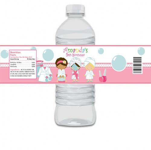 Custom Personalized Spa Mani Pedi Birthday Party Water Bottle Label (Matches Invitation) - Digital Print. $6.99, via Etsy.