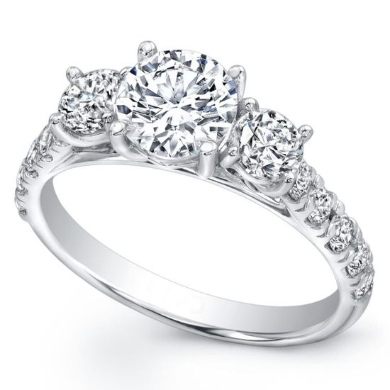 Three Stone Diamond Cathedral Engagement Ring Pave Band - ES1203BR